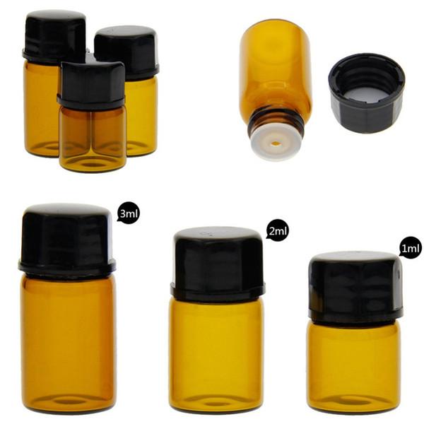 1ml boş cam kehribar rulo topu şişesi kavanoz şişeleri kozmetik parfüm esansiyel yağ şişeleri