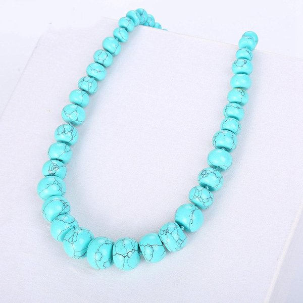 Fonkup Multilayer Necklace Blue Turquoise Chain Hyperbole Women Jewellery Round Rope Chain Ladies Engagement Ornament Friend Bag
