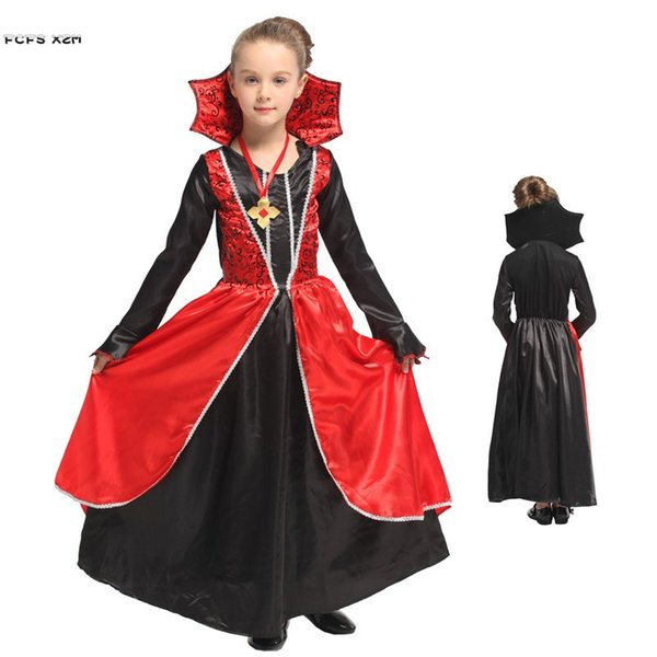 Red Girls Halloween Vampire Scary Costumes Kids Children Queen Cosplays Carnival Purim Masquerade Role play party Evening dress