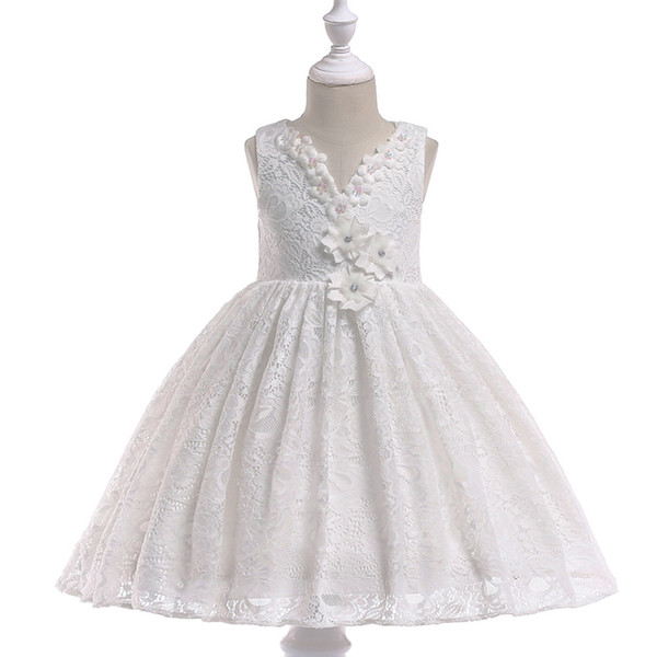 2018 Lovely Little Flower Girls Dresses Lace 3D Hand Made Flowers Sleeveless Chapel Train with Big Bowk Peagent Dresses