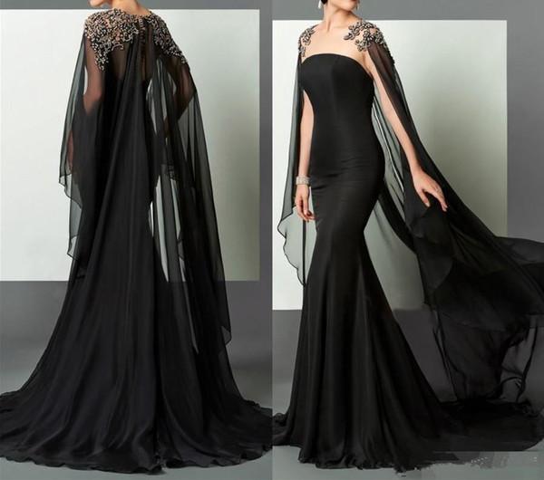 Vestido de noche árabe negro con cristales de mantón Encaje Hombro gasa Sirena larga Vestidos formales Tamaño personalizado