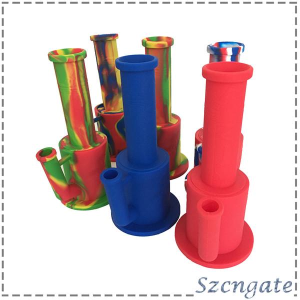 Silicona shisha narguile pipas de agua Cuerpo de tubo de silicona con recipiente de vidrio de filtro encajonado twisty embotado 0266164