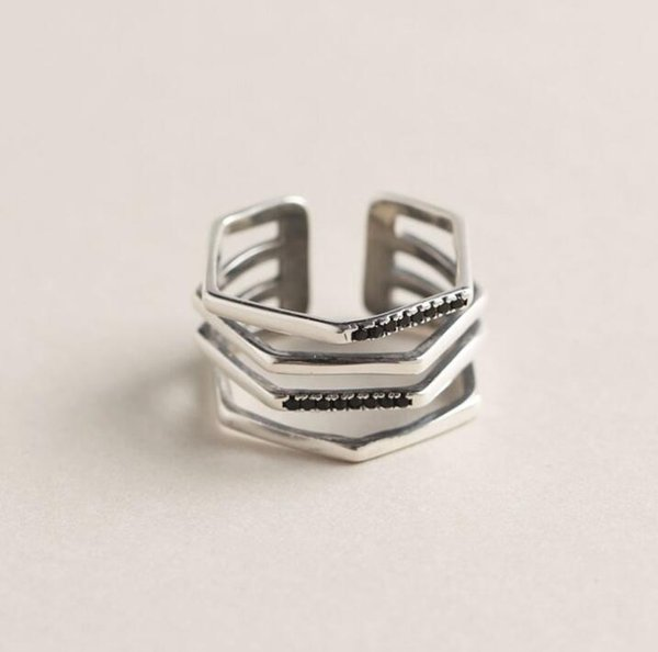 S925 sterling silver geometric multi-layer diamond personalized hipster ring opening adjustable male and female ring jewelry