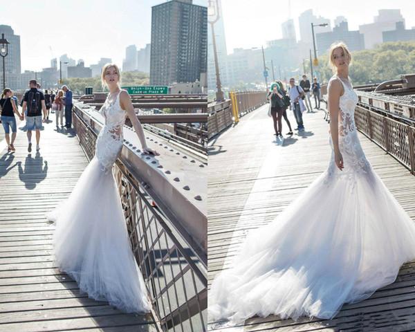 Pnina Tornai Plus Size Wedding Dresses 2019 boho Backless Lace Wedding Dress Beach Appliques Beads Bridal Gown Vestidos De Novia