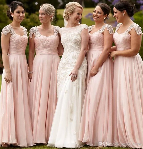 2018 Pink Long Bridesmaid Dresses Plus Size A Line Pleats Capped Sleeve Party Dress Perfect Bridesmaid Dresses SB187