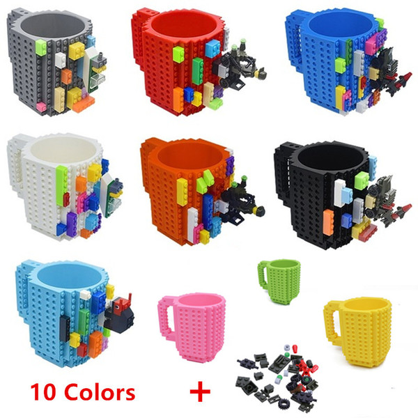 Hot Sale Creative 350ml Drinkware Building Blocks Mugs DIY Coffee Cup Block Puzzle Mug Personality Water Cup Build-On Brick Milk Mug Gift