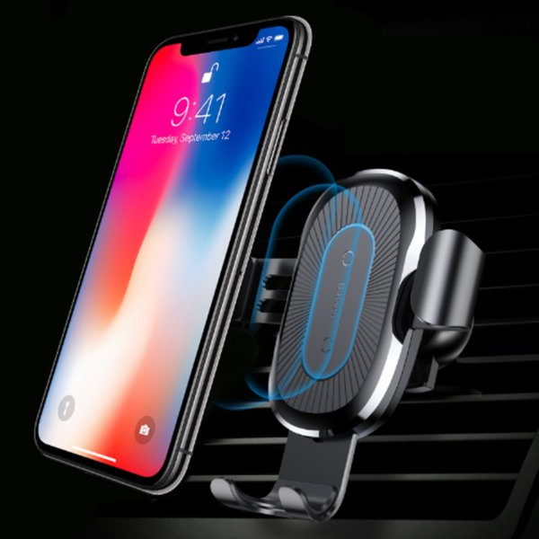 Caricabatteria da auto per iPhone base Qi XR XS Max x 8 ricarica veloce Supporto per telefono auto wireless per Samsung Note 9 S9