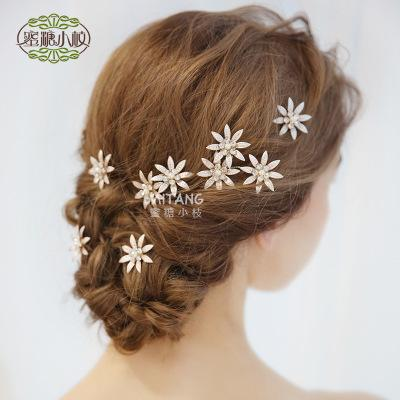 New Korean bride wedding hand-made rhinestone pearl flower leaf tiara hair clip / into the store to choose more styles