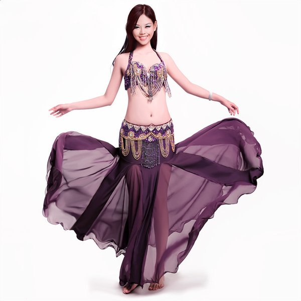 11Color Stage Performance Oriental Belly Dancing Clothes 3-piece Suit Bead Bra&belt & Skirt Belly Dance Costume Set M005