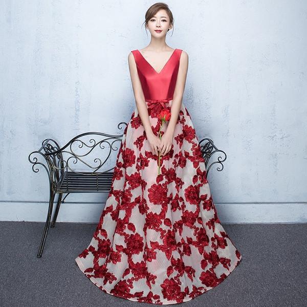 2019 Designed Burgundy Lace Evening Prom Dresses Elegant A Line Formal Dress Deep V Neck with Sash Deep V Guest Bridesmaids Dress