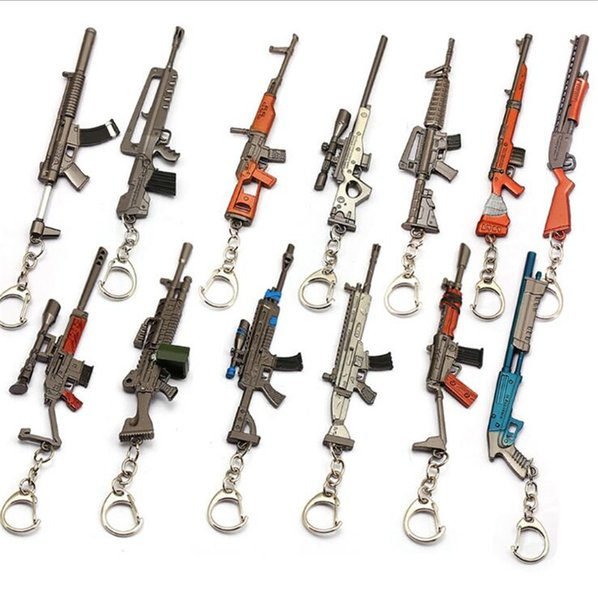 15cm Game Fortress Night Around FORTNITE Rifle Machine Gun Scattergun Model Keychain Alloy Weapon Decoration For Men Kids Toys Gift