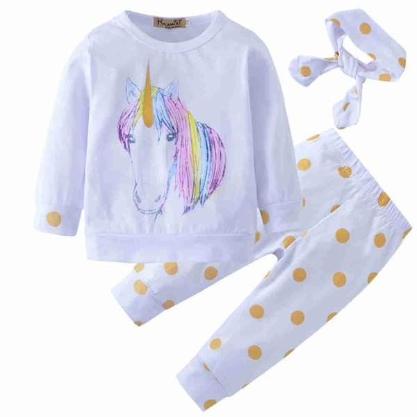 New 2018 Baby Clothing Unicorn Newborn Baby Girl Kid Outfit Clothes Tops+Leggings Pants+Headband Boy girl 3pcs set