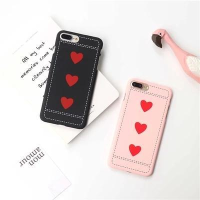 Coque arrière SF coeur rouge pour iPhone7 plus, coque arrière polie mate pour iPhone6 / 6S plus, simple mince étui pour iPhone5 / 5S / SE