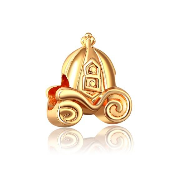 Cinderella Gold Pumpkin Carriage European Beads Accessories Fit Pandora Charms for Bracelets Wholesale for Girls Best Friends Women Mom