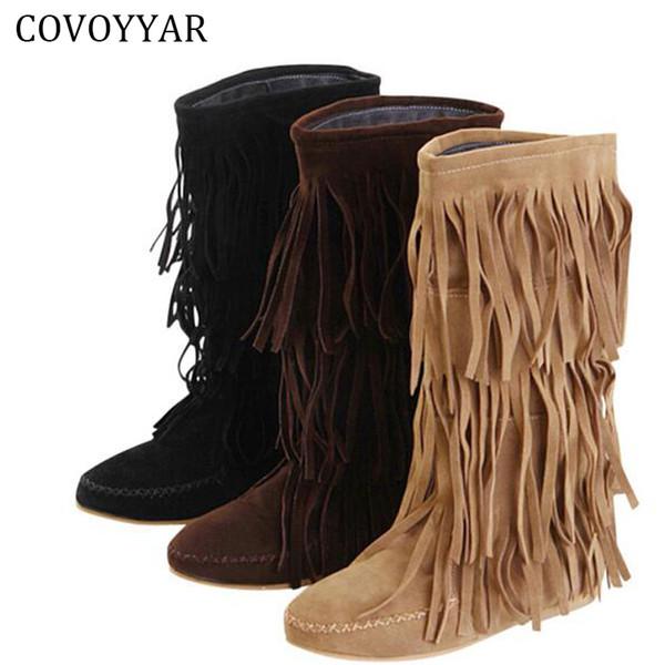 Großhandel COVOYYAR Hot 3 Schichten Fransen Stiefel 2018 Niedrige Ferse Quaste Mokassin Flache Waden Damen Stiefel Plus Größe 35 ~ 43 WBS16 Von