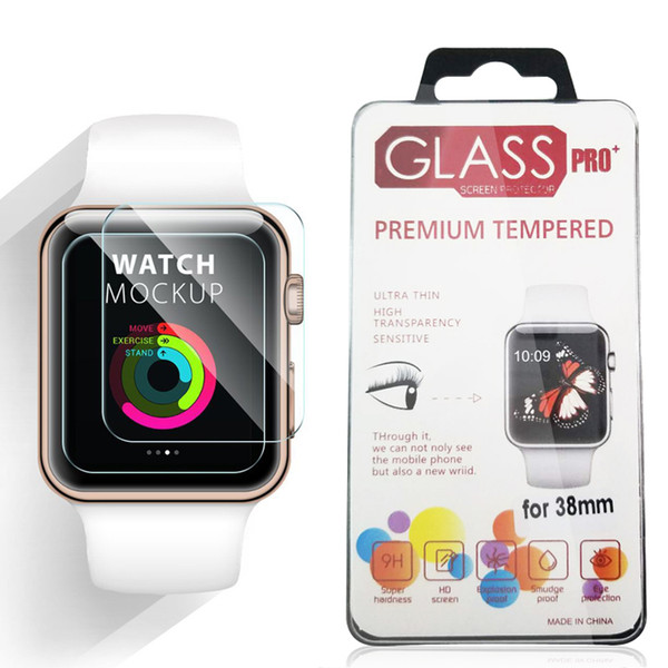 best selling For Apple Watch iWatch 0.2mm 2.5D 9H Tempered Glass Flim 44MM 38MM Screen Protector LCD With Retal package