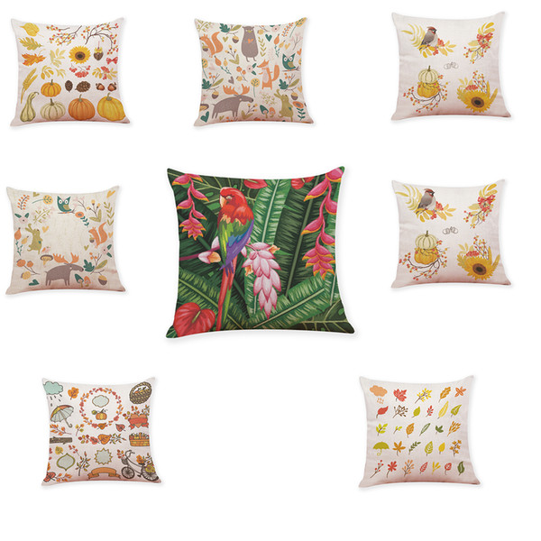 Pumpkin Floral Linen Cushion Covers Home Office Sofa Square Pillow Case Decorative Pillow Covers Without Insert(18*18Inch)