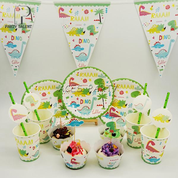 Fournitures de fête 61pcs pour 12 enfants ensemble de vaisselle de décoration de fête d'anniversaire thème dinosaure, assiette + tasse + paille + bannière + emballage + topper