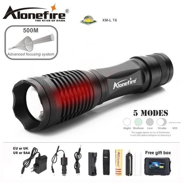 Alonefire E007 CREE XM-L T6 5000Lm Lanterna LED Recarregável Multifunções À Prova D 'Água Ao Ar Livre Lanterna Home Torch 18650 bateria