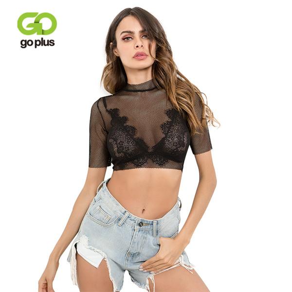 GOPLUS negro ahueca hacia fuera la camiseta atractiva de la malla Las mujeres sueltan el top corto de la moda de la manga corta del verano remata el partido femenino de las camisas de la rejilla