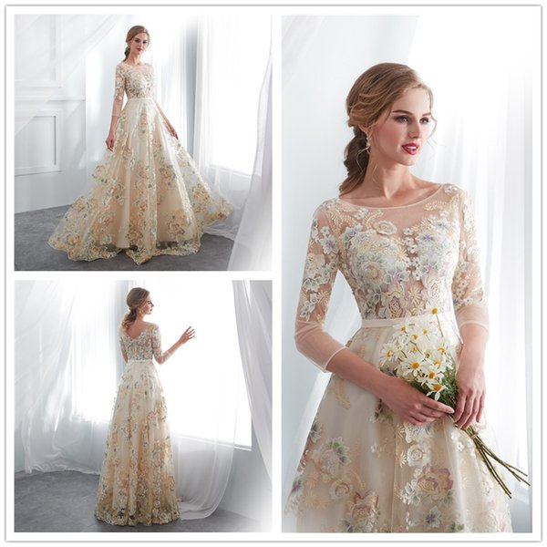 2019 garden Champagne A-line Wedding Dress sheer jewel neck floor length colorful lace Bridal Gowns free shipping size 2-16 in store