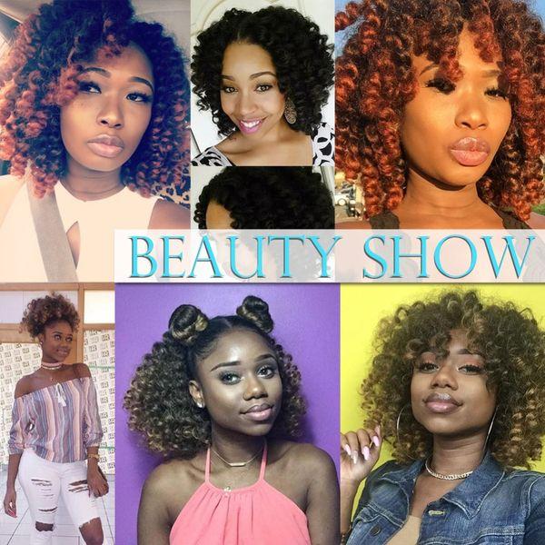 "TOMO Jumpy Wand Curl Hair Extension For Braids Jamaican Bounce Crochet Hair 8"" Jumbo Braid Kanekalon Braiding Hair For Women 20strands/Pack"