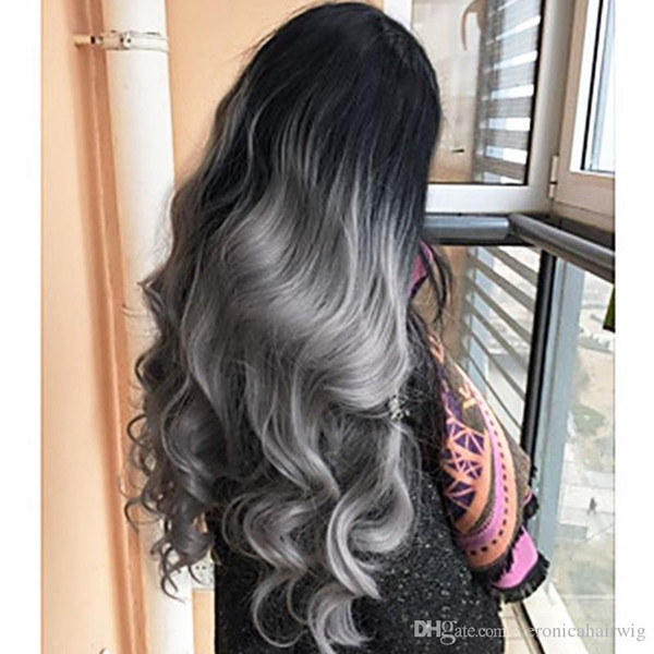 Free Shipping 2 Tones Synthetic Lace Front Wig Gray Color Long Body Wave Hair 180% Density Heat Resistant Ombre Wig Women's Fashion Wig