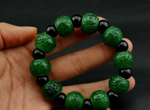 Burmese jade green full of green emerald carved bracelet emerald green dragon raw road through the for men and wom