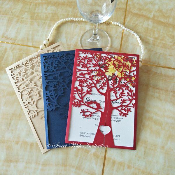 Wedding Invitations Laser Cut Love Tree Invitation Card Cover Lace Evening Invitation No Inner Sheet No Envelope Wedding Invitation Wording Examples