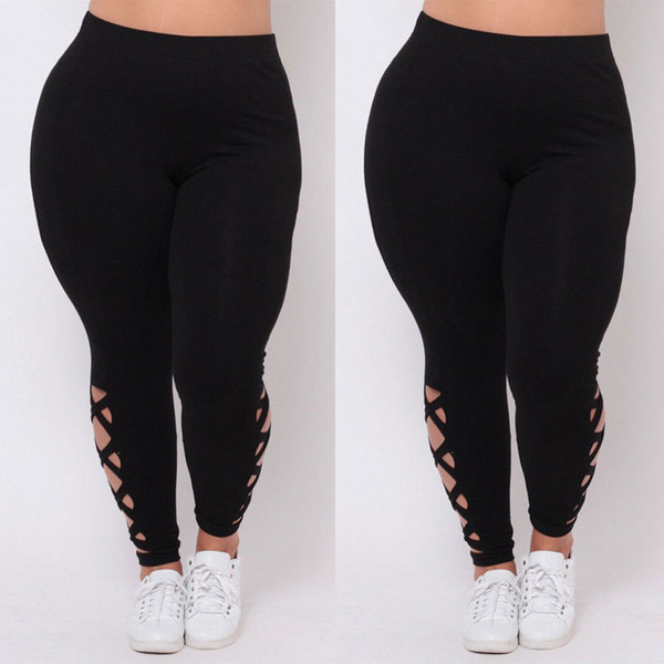 New Women Plus Size L XL 2X 3X Black Criss-Cross Soft Comfort Skinny Leggings Pants Stylish Womens Elastic Pants Leggings