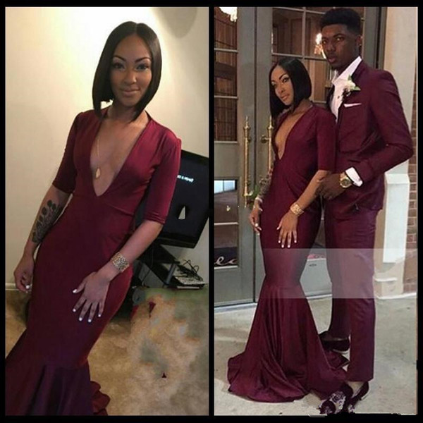 2019 Lange Burgund Abendkleider mit tiefem V-Ausschnitt Halbarm Jersey bodenlangen Black Girls Mermaid afrikanische formale Abendkleider Partei-Kleid