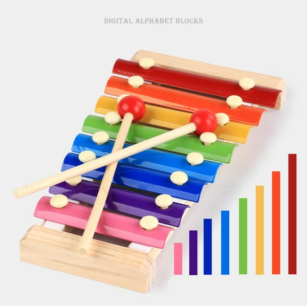wood hand knocks the 8-Note xylophone serinette Eight piano digital alphabet blocks kids baby Musical toy piano Instrument gift DHL 24pcs