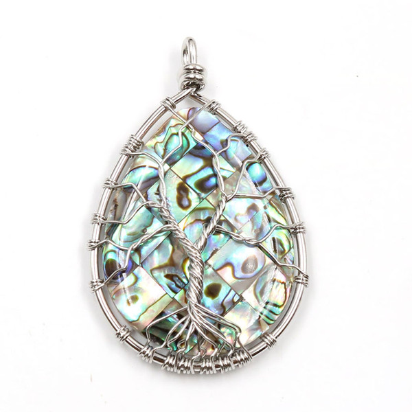 Natural Abalone Shell Wire Wrapped Life Of Tree Energy Jewelry Unique Sliver Pleated Warter Drop Pendant