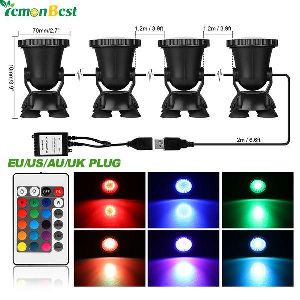 Trend Mark 4pcs Multicolor Rgb 36 Led Underwater Spot Light Ip68 For Water Aquarium Garden Pond Fish Tank Lighting Eu Plug Led Lamps