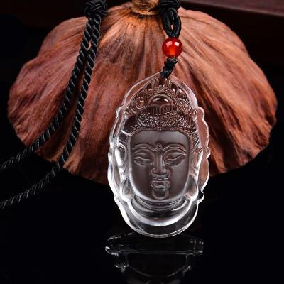 Crystal Goddess Pendant, male and female crystal Buddha head, evil spirits transshipment, safe crystal pendant.