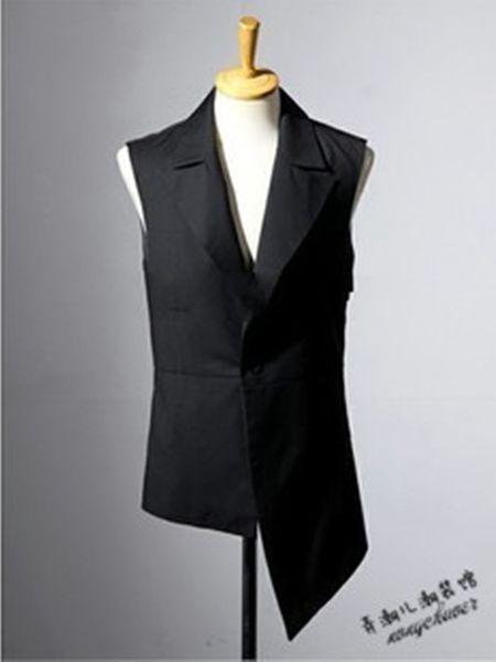2018 새로운 남성의 헤어 스타일리스트 패션 GD 슬림 성격 현대 수예 불규칙한 레저 조끼 플러스 사이즈 의류 S ~ 5XL 스윙