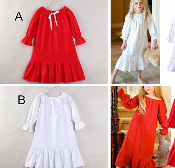 Baby XMAS Summer Autumn pajamas dress Girls boutique Cothing Kids ruffle dress cotton nightwear 2colors 5size