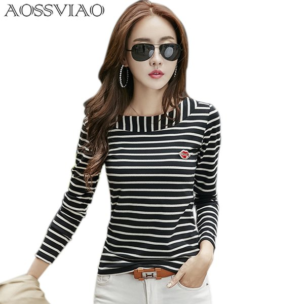 striped t shirt women tops 2018 Autumn Fashion Womens Long Sleeve Cotton Tops Black White O-Neck T-shirt Plus Size Woman Clothes