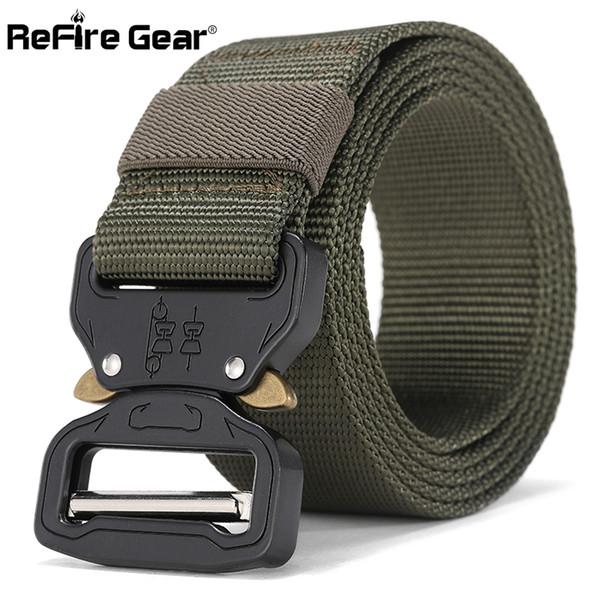 ReFire Gear  Combat Tactical Belt Men Fast Release Metal Buckle Army Belt SWAT Heavy Duty Durable Nylon Waist 3.8cm