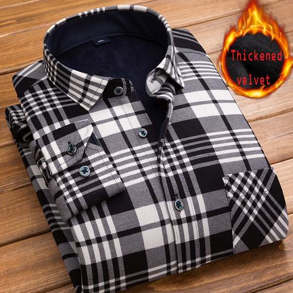 EYUANYANG shirt men 2018 New winter Men's long sleeve plaid Dress shirt camisa masculina Brand Thick velvet casual 4XL