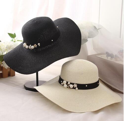 New Spring Summer Hats For Women Flower Beads Wide Brimmed Jazz Panama Hat Chapeu Feminino Sun Visor Beach Hat Cappello