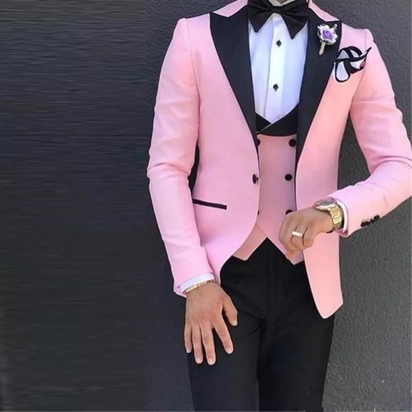 Traje de Boda para Hombre de 3 Piezas Rosadas Un Botón Negro Solapa Alineada Formal Tuxedos Slim Fit Chaqueta + Pantalones + Chaleco