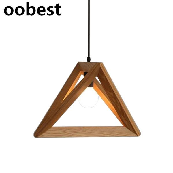 oobest Lampe Titulaire Contemporain Industriel Style Triangulaire Pendentif 32cm En Bois Massif Éclairage Décoration Home Office Ornements