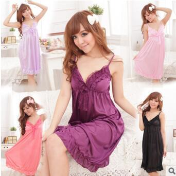 Wholesale-Lace Sleepwear 2018 High Quality Nightwear Summer skirt ice silk nightdress sexy meat suspenders nightdress ice silk ladies skirt