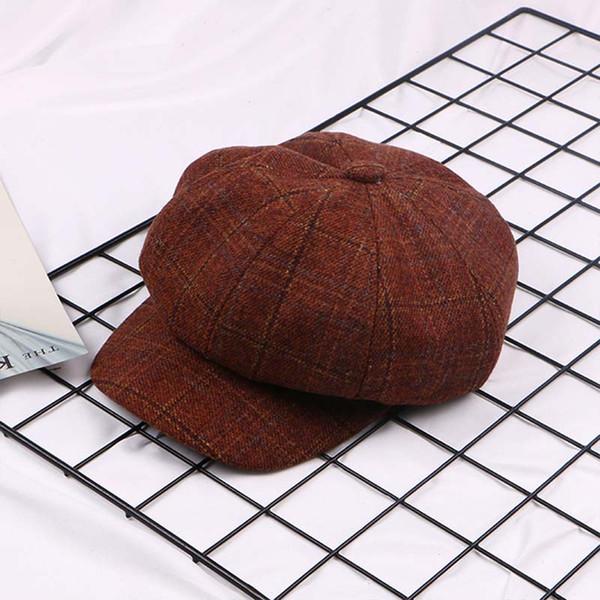 New paragraph Ladies Fashion Newsboy Caps Plaid Octagon Beret cap Girls Shopping Joker Hats Casual Sports hat free shipping sale