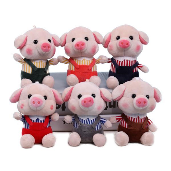 1 adet 12 cm Sevimli Koku Domuz Peluş Oyuncaklar Yumuşak Dolması Hayvanlar Mini Piggy Çanta Kolye Peluş Bebekler Anahtarlık Çocuk Kızlar Için hediye