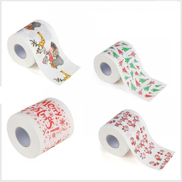 Merry Christmas Paper Toilet Roll Paper Cute Santa Claus Pattern Printed Party Table Decor Holiday Supplies
