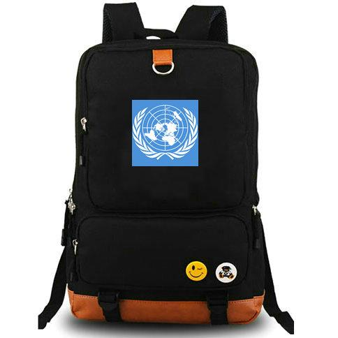 United Nations backpack UN daypack All country flag schoolbag Banner rucksack Canvas school bag Outdoor day pack