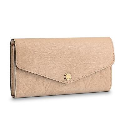 M62297 SARAH WALLET Embossing beige Real Caviar Lambskin Chain Flap Bag LONG CHAIN WALLETS KEY CARD HOLDERS PURSE CLUTCHES EVENING