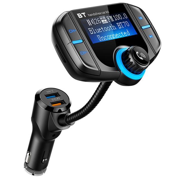BT70 QC3.0 ve 2.4A Çift USB Portu Araç Şarj 1.7 inç LCD Ekran Kablosuz Eller-Serbest Bluetooth MP3 Çalar FM Verici